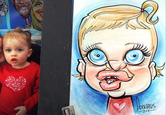 the nose caricature artists party gift illustration